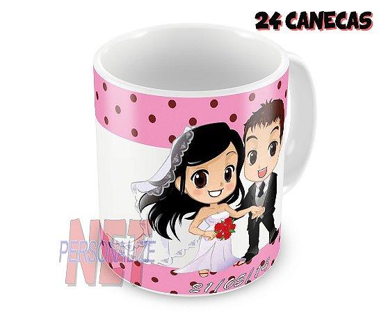 24 Canecas Personalizadas em Porcelana - Casamento - K4