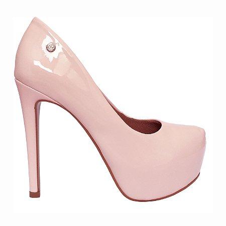 Scarpin Le Bianco Glamour Salto Alto Fino Rosa Quartzo Em Verniz Meia Pata Interna