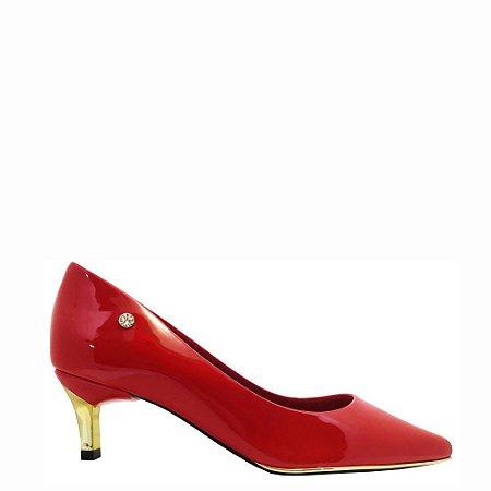 Scarpin Le Bianco Vernazza Salto Baixo Fino Dourado Bico Fino Vermelho em Verniz