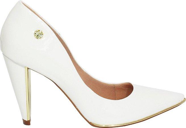 Scarpin Le Bianco Milão Salto Alto Tipo Cone com Dourado Interno Branco Verniz