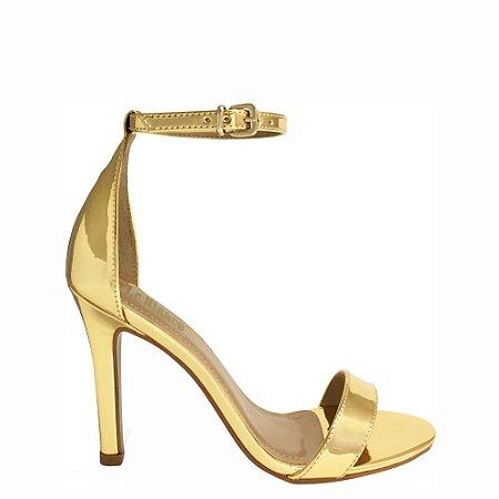 Sandália Le Bianco Beverly Hills Dourada Salto Alto Fino Specchio