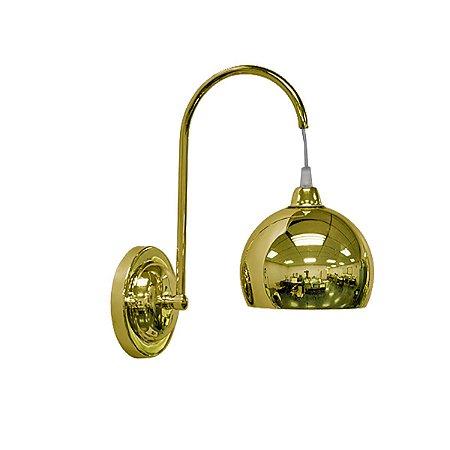 Arandela Latao Braço Curvo Golden Art P202