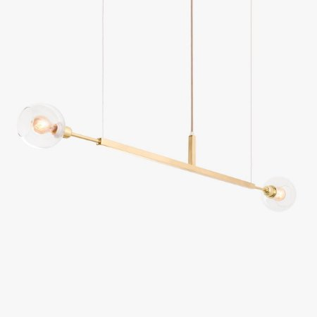 Lustre Pendente Due 100 Horizontal Glass Golden Art T22100-V