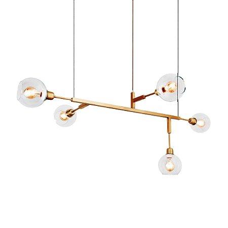 Lustre Pendente Cinque 100 Glass Golden Art T55100-V