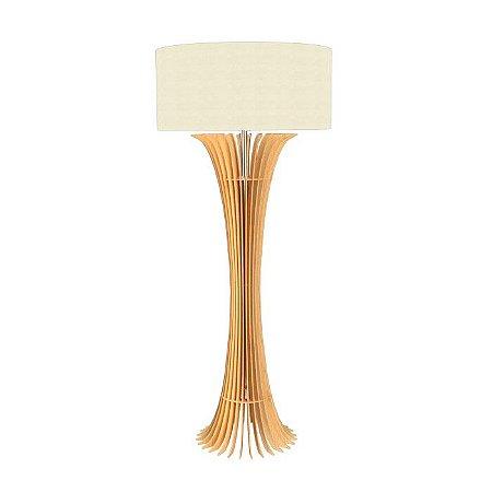 Luminária Coluna Chão Madeira Curva Ripada Accord 363
