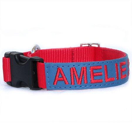 Coleira de Identificação para Cachorro - Vermelha e Azul