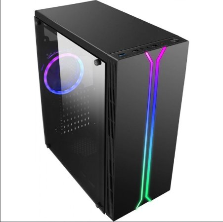 Gabinete Gamer liketec Rainbow RGB, Mid Tower, com 1 Fan, Vidro Temperado, Black, S-Fonte