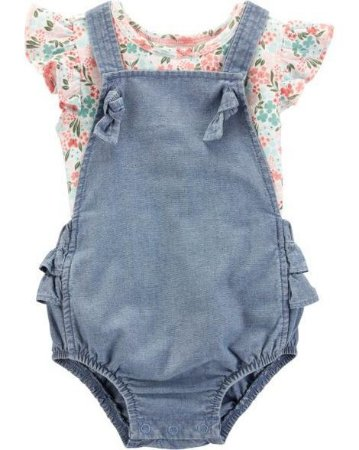 a653828290 Jardineira Jeans + Camisetinha - Zag Baby