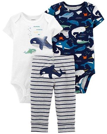 Kit 2 Bodys + Calça Tubarão Azul Carter's (pronta entrega)