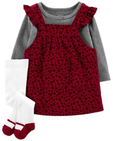 Conjunto Vestido + Camisetinha + Meia Calça Vermelho Carter's (pronta entrega)