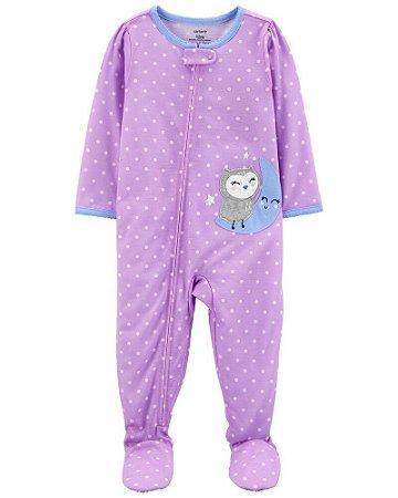 Macacão Pijama Algodão Coruja Lilás Carter's (pronta entrega)