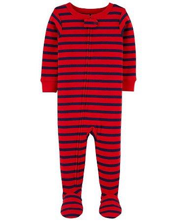 Macacão Pijama Algodão Carter's Vermelho Listrado