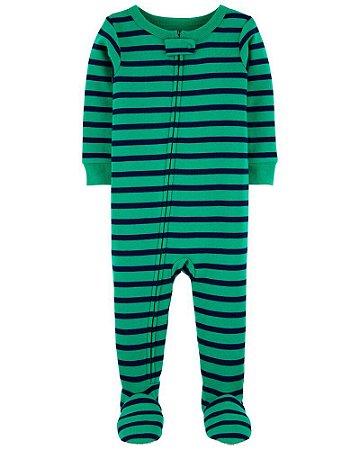 Macacão Pijama Algodão Carter's Verde Listrado