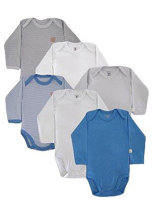 Kit Body 6 Peças Manga Longa Suedine Baby Best Azul e Cinza