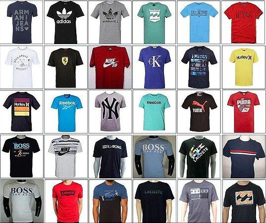 kit 100 camisetas Multimarcas atacado kit 10 pçs sacoleiras lojistas marcas famosas