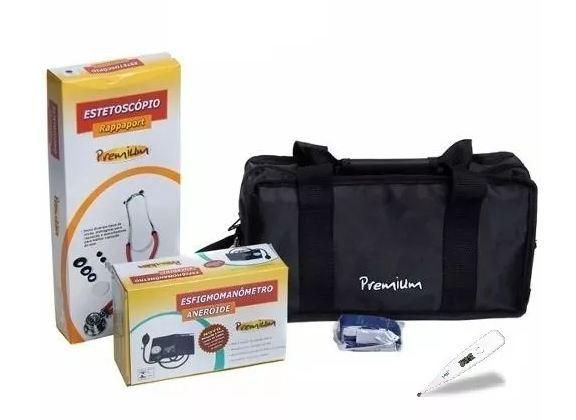 Kit Acadêmico Premium Esfigmomanômetro Estetoscópio Termômetro e Garrote