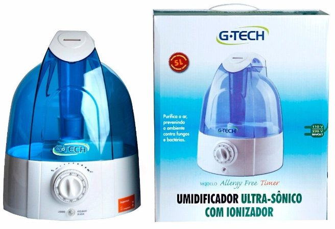 Umidificador Ultrassônico Allergy Free Timer G-Tech