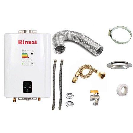 Aquecedor a Gás GLP Rinnai REU E17 Branco+Kit de Instalação