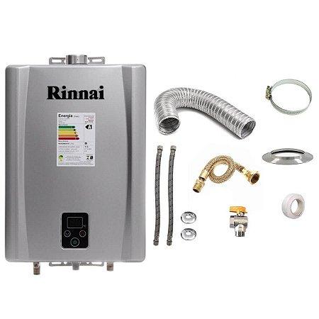 Aquecedor a Gás GLP Rinnai REU E17 Prata+Kit de Instalação