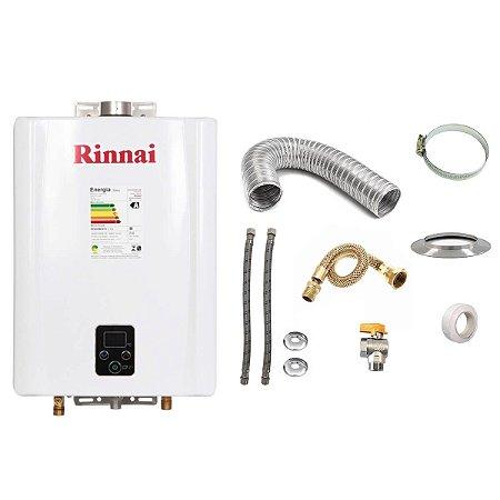 Aquecedor a Gás GLP Rinnai REU E21 Branco+Kit de Instalação