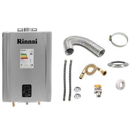 Aquecedor a Gás GLP Rinnai REU E21 Prata+Kit de Instalação
