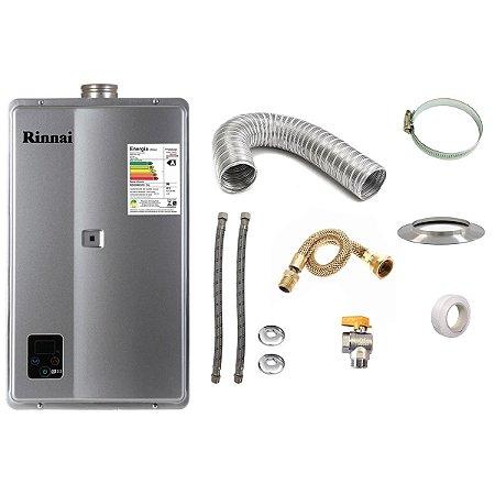 Aquecedor a Gás GN Rinnai REU E33 Prata+Kit de Instalação