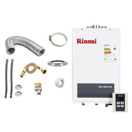 Aquecedor a Gás GLP Rinnai REU 1602 FEA + Kit de Instalação