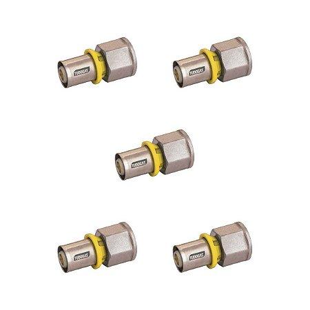 Kit 05 unidades Conector 20 X 1/2 (F) Tudogás