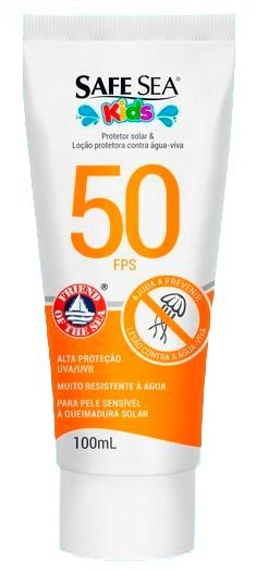 Protetor Solar e Contra Queimadura de Água Viva Eco-Friendly - FPS 50 KIDS - Safe Sea