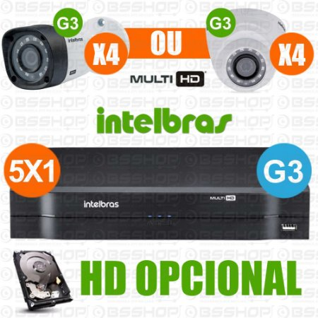 Kit Intelbras 4 Cameras Multi Hd + Dvr 4ch Mhdx 1004 G3 (HD Opicional)