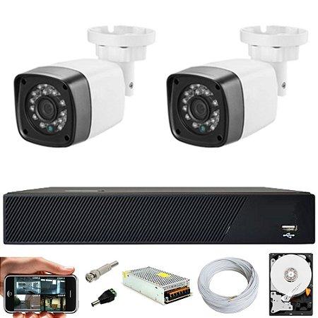 Kit Cftv 2 Cameras Hd 720P IR 30M + Dvr 4 Canais + HD 500GB