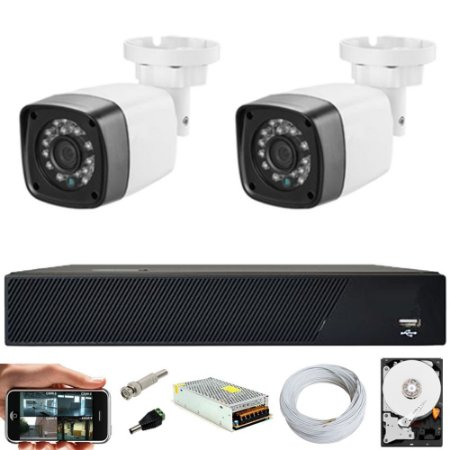 Kit Cftv 2 Cameras Hd 720P IR 30M + Dvr 4 Canais + HD 1TB