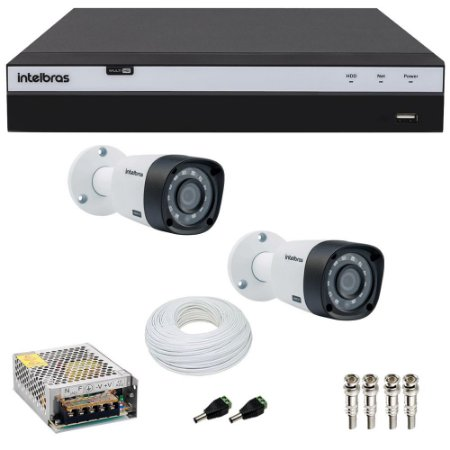 Kit Cftv 2 Cameras Intelbras Full HD 1080p Ir 20m VHD 1220b G4 + Dvr 4 Canais Intelbras Full HD 1080p MHDX 3104