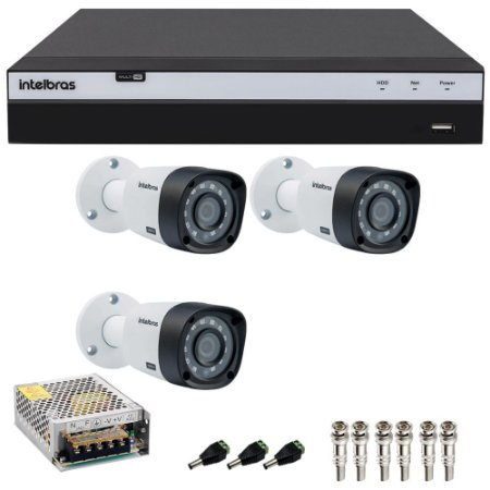 Kit Cftv 3 Cameras Intelbras Full HD 1080p Ir 20m VHD 1220b G4 + Dvr 4 Canais Intelbras Full HD 1080p MHDX 3104