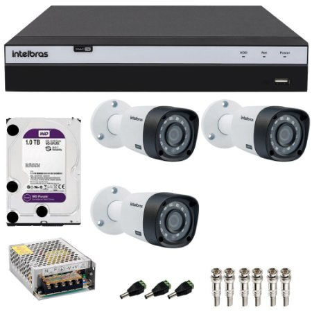 Kit Cftv 3 Cameras Intelbras Full HD 1080p VHD 1220b G4 + Dvr 4 Canais Intelbras Full HD 1080p MHDX 3104 com HD 1TB Purple