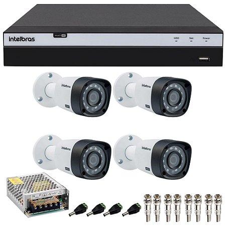 Kit Cftv 4 Cameras Intelbras Full HD 1080p Ir 20m VHD 1220b G4 + Dvr 4 Canais Intelbras Full HD 1080p MHDX 3104
