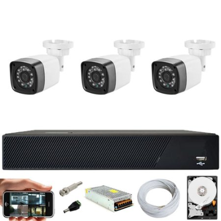 Kit Cftv 3 Cameras Hd 720p Infravermelho 30m + Dvr 4 Canais Multi Hd Com HD 500GB