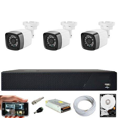 Kit Cftv 3 Cameras Hd 720P IR 30M + Dvr 4 Canais + HD 1TB