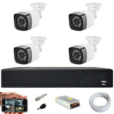 Kit Cftv 4 Cameras Hd 720P IR 30M + Dvr 4 Canais - Sem HD