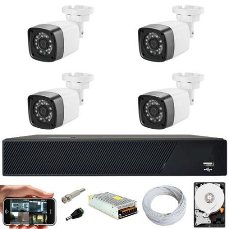 Kit Cftv 4 Cameras Hd 720P IR 30M + Dvr 4 Canais + HD 1TB