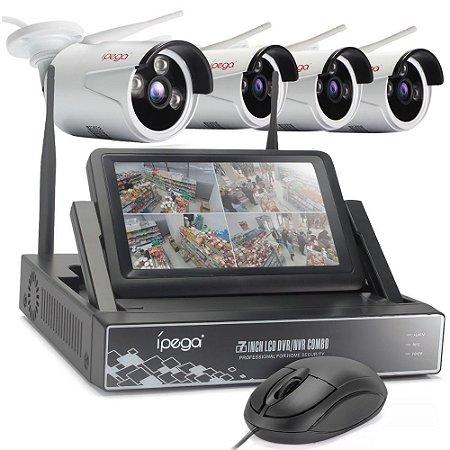 """Kit 4 Cameras Ip Wifi Ext HD 720P Infra 30m + Nvr Wireless 4 Canais Sem Fio com Monitor 7"""" acoplado P2P Com HD 1TB"""
