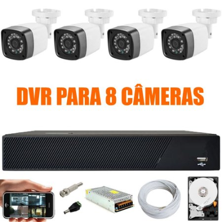 Kit Cftv 4 Cameras Hd 720P IR 30M + Dvr 8 Canais + HD 500GB