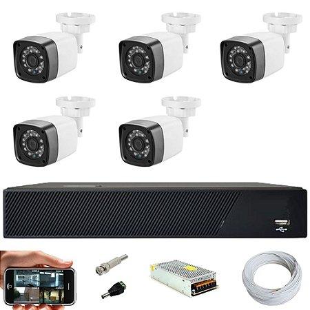 Kit Cftv 5 Cameras Hd 720p Infravermelho 30m + Dvr 8 Canais Multi Hd Sem HD