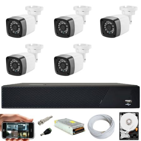 Kit Cftv 5 Cameras Hd 720p Infravermelho 30m + Dvr 8 Canais Multi Hd Com HD 500GB