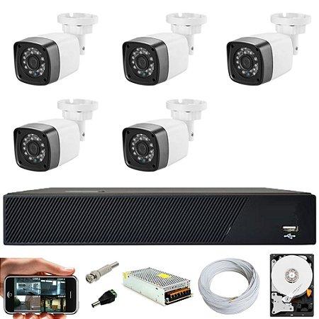 Kit Cftv 5 Cameras Hd 720p Infravermelho 30m + Dvr 8 Canais Multi Hd Com HD 3TB