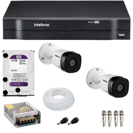 Kit 2 Cameras Intelbras 1120 B + Dvr Mhdx 1104 + HD 1TB Purple