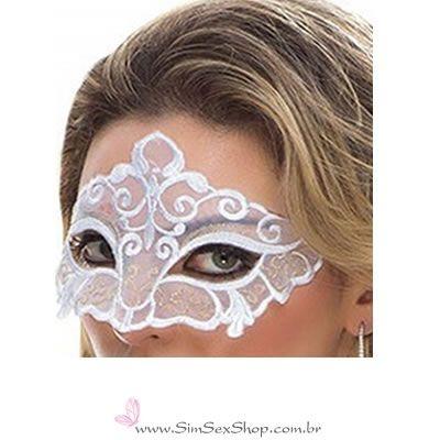 Máscara Sensual Colombina Sapeka em tule bordado renda cor branca