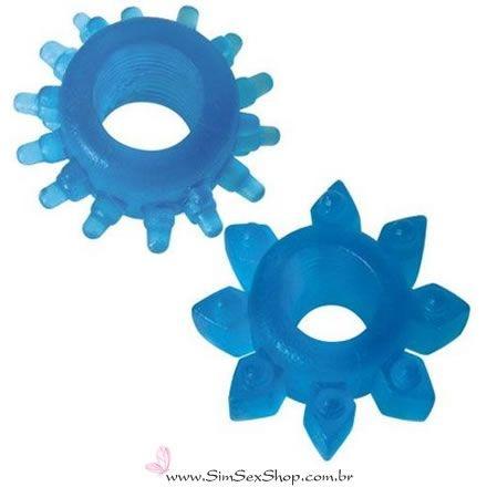 Anel peniano com saliências Hot Flowers 2 unidades cor azul