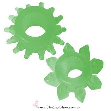 Anel peniano com saliências Hot Flowers 2 unidades cor verde