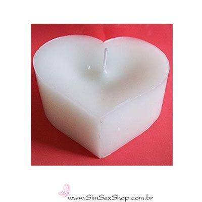 Vela coração média 4,5 x 2,3 cm branca
